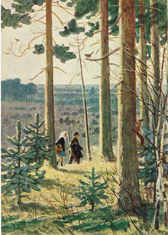 Стиле квиллинг, открытка в лесу