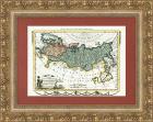 Гравированная карта Российской империи, 1780 г., с ручной раскраской